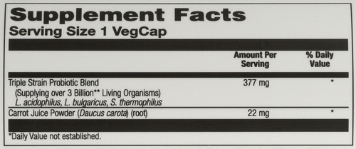 Acidophilus 3 Strain Probiotic & Prebiotic Carrot Juice 30 Vegetarian Capsules