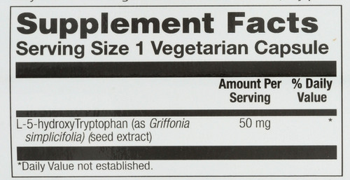 5-HTP (L-5-Hydroxytryptophan) Griffonia Bean Seed Extract 60 Vegetarian Capsules