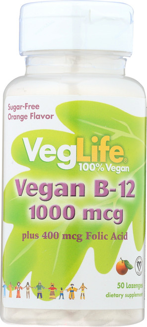 Vitamin B-12 & Folic Acid, Vegan Orange 50 Lozenges