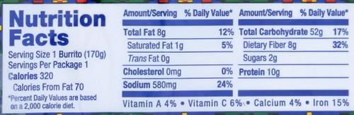 Bean & Rice Burrito - Non Dairy Bean & Rice Burrito - Non Dairy 6 Ounce 170 Gram