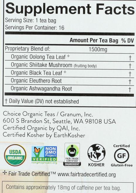 Shiitake Oolong Mushroom Wellness Tea 16 Count 0.85 Ounce