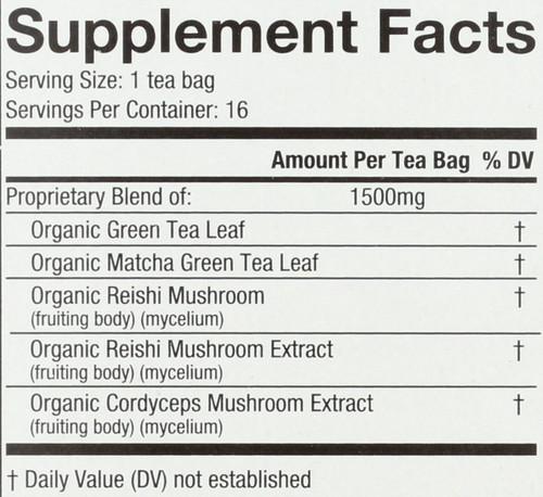 Organic Mushroom Wellness Tea Reishi Matcha 16 Each 0.85 Ounce