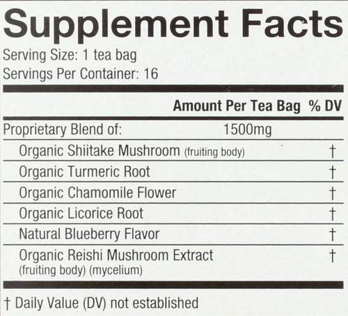 Organic Mushroom Wellness Tea Shiitake Turmeric 16 Each 0.85 Ounce