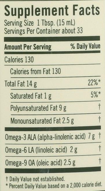 Flax Oil Certified Organic  17 Fl. Oz. 500 Milliliter