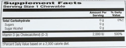 Vitamin D3 2000Iu Cinnamon Chew Sug Free  200 Count