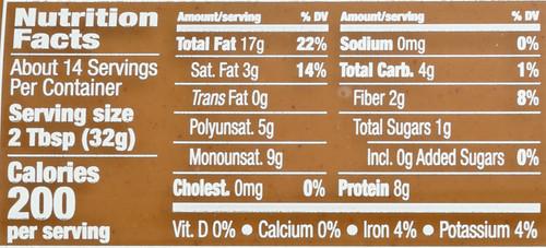 Peanut Butter No Stir No Sugar No Salt Added 16 Ounce 454 Gram