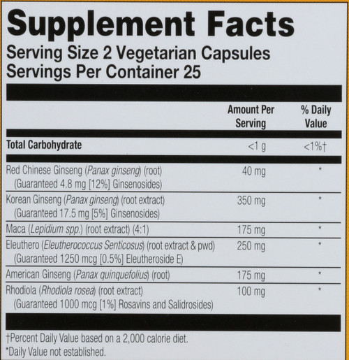 Ginseng Powermax 6X, Veg Cap (Carton) 2000Mg 50Ct  50 Count