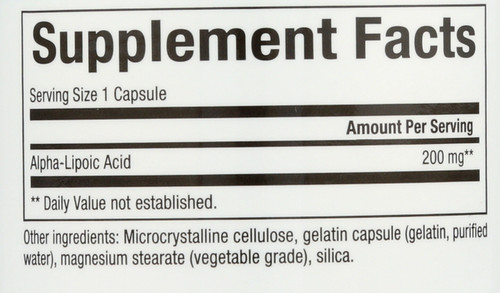 Alpha-Lipoic Acid 200 Mg  60 Count