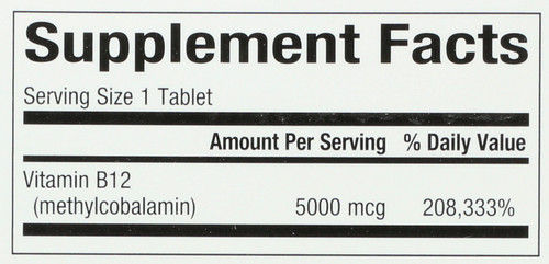 B12 Methylcobalamin 5,000 Mcg Chewable 5000 Mcg 60 Count