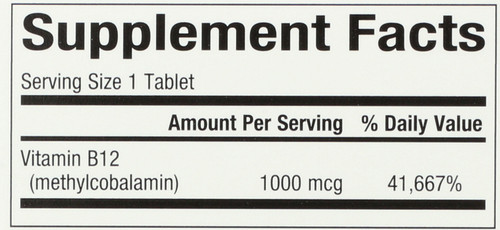 B12 Methylcobalamin 1,000 Mcg Chewable 1000 Mcg 180 Count