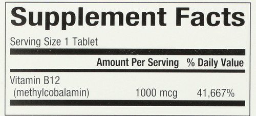 B12 Methylcobalamin 1,000 Mcg Chewable 1000 Mcg 90 Count