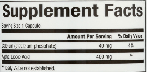 Alpha Lipoic Acid 400 Mg  60 Count