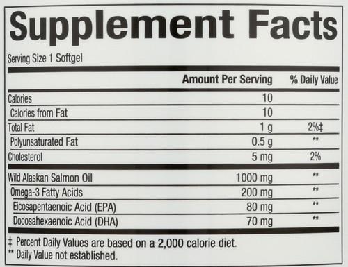 Wild Alaskan Salmon Oil 1000 Mg Omega-3 EPA & Dha 150 Mg 180 Count