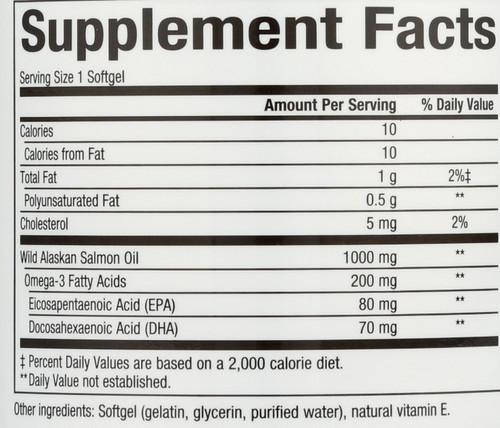Wild Alaskan Salmon Oil 1000 Mg Omega-3 EPA & Dha 150 Mg 90 Count