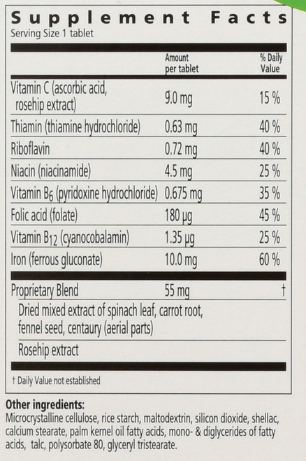 Floradix Iron Tablets Iron And Vitamins Formula In A Base Of Herbs 80 Count