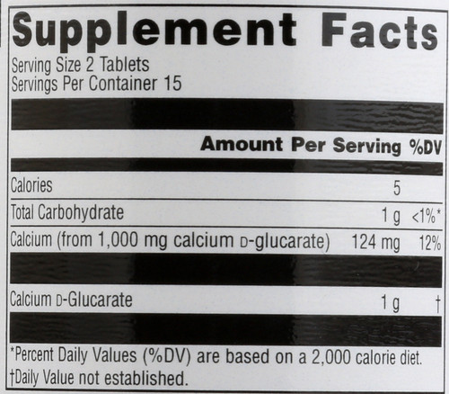 Calcium D Glucarate 500Mg 30 Tb  30 Count