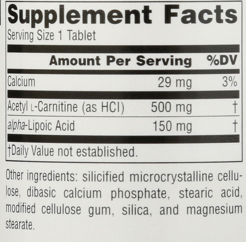 Acetyl L-Carnitine & Alpha-Lipoic Acid 650 Mg Acetyl L-Carnitine & Alpha-Lipoic Acid 650 Mg 60 Count