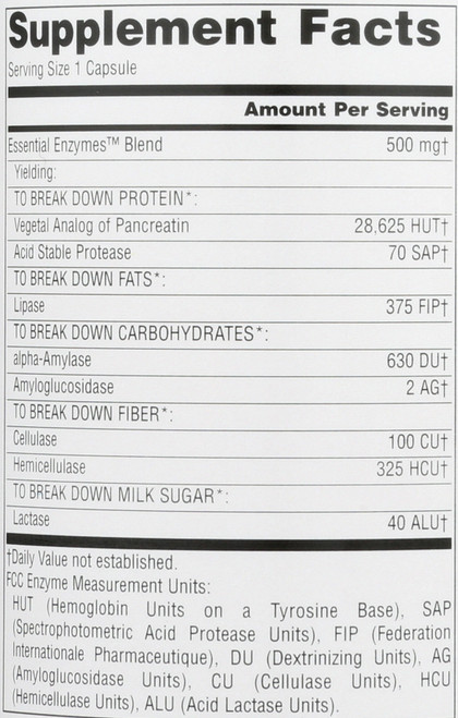 Essential Enzymes 500Mg 240C Essential Enzymes™ 500 Mg 240 Count