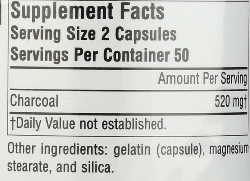 Charcoal 260Mg Caps 100C Charcoal 260 Mg 100 Count