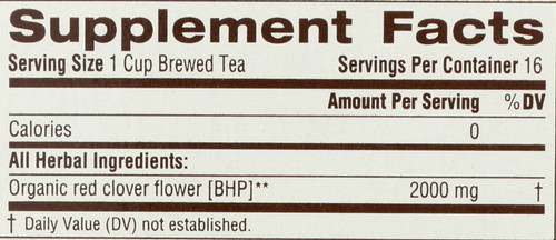 Naturally Caffeine Free Herbal Tea Organic Red Clover 16 Count 1.13 Ounce
