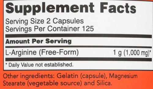 L-Arginine 500 mg - 250 Capsules