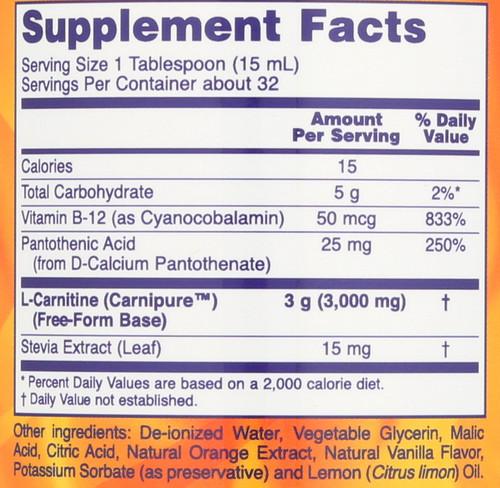 L-Carnitine Liquid 3000 mg - 16 oz..