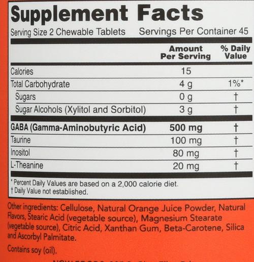 GABA Orange Flavor Chewable - 90 Chewables