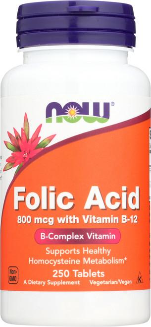Folic Acid 800mcg + B-12 25mcg - Vegetarian 250 Tablets