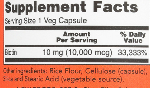 Biotin 10 mg (10,000 mcg) - 120 Veg Capsules