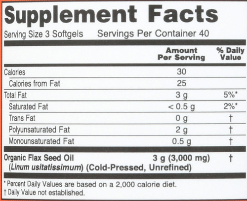 Flax Oil 1000 mg - 120 Softgels
