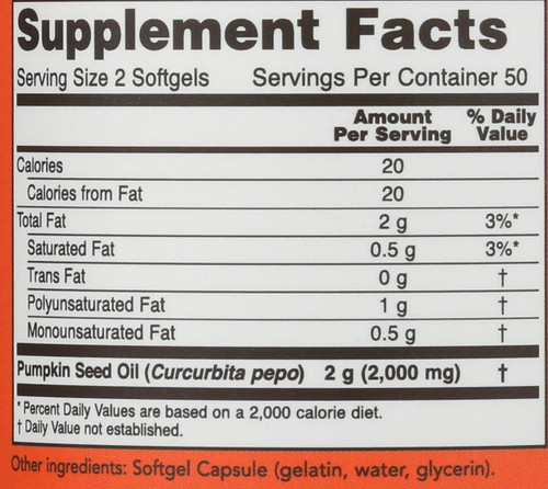 Pumpkin Seed Oil 1000 mg - 100 Softgels