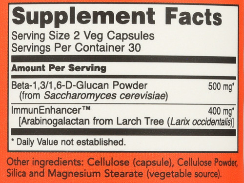 Beta-Glucans with ImmunEnhancer™ 250mg - 60 Vcaps®