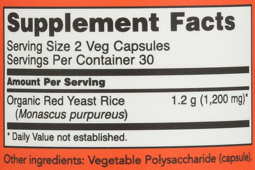 Red Yeast Rice 600 mg - 60 Veg Capsules