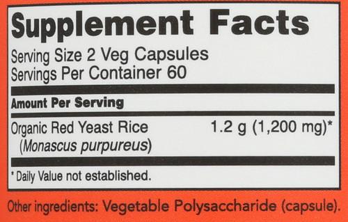 Red Yeast Rice 600 mg - 120 Veg Capsules