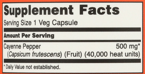 Cayenne Caps 500 mg - 100 Capsules