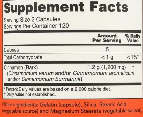Cinnamon Bark 600 mg - 240 Capsules