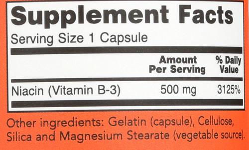 Niacin 500 mg - 100 Capsules