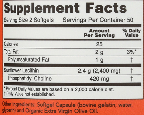 Sunflower Lecithin 1200 mg Soy-Free, Non-GMO - 100 Softgels