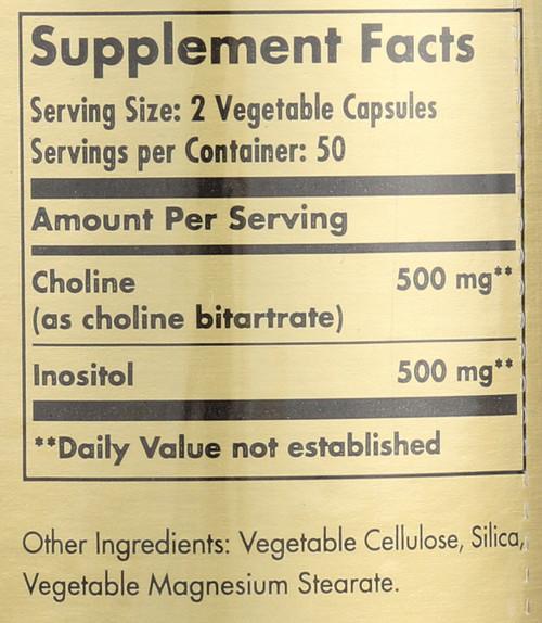 Choline/Inositol 500mg/500mg 100 Vegetable Capsules