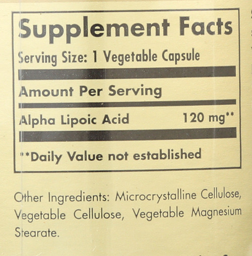Alpha Lipoic Acid 120mg 60 Vegetable Capsules