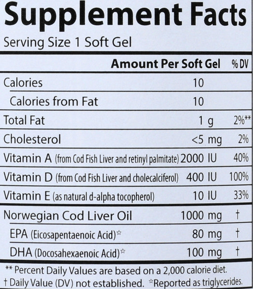 Cod Liver Oil - Super 1000 Mg - 100 Soft Gel