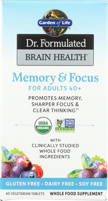Dr. Formulated Brain Health Memory and Focus Adults 40+ Organic 60 Tablets