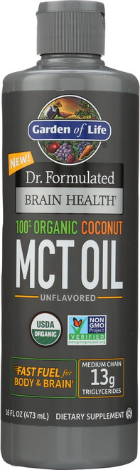 Dr. Formulated Brain Health Organic Coconut MCT Oil 16 Ounce