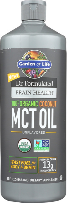 Dr. Formulated Brain Health Organic Coconut MCT Oil 32 Ounce
