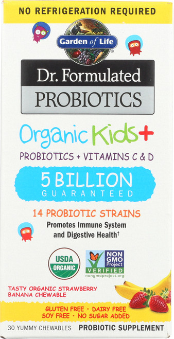 Dr. Formulated Probiotics Organic Kids Non-Refrigerated Strawberry Banana 30 Chewables