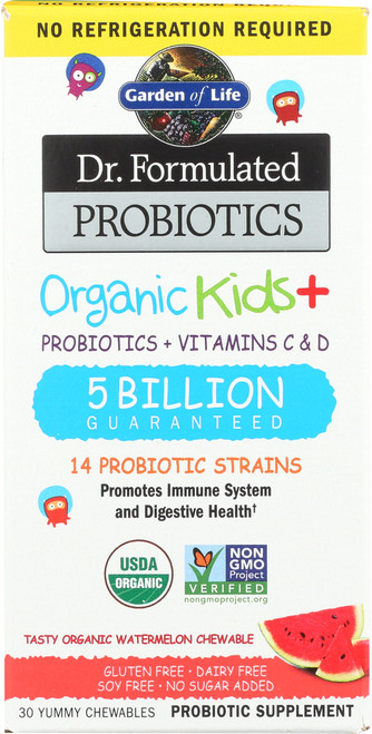 Dr. Formulated Probiotics Organic Kids Non-Refrigerated Watermelon 30 Chewables
