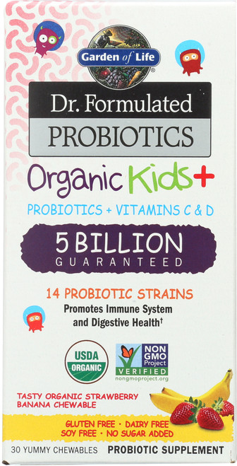 Dr. Formulated Probiotics Organic Kids Strawberry Banana 30 Chewables