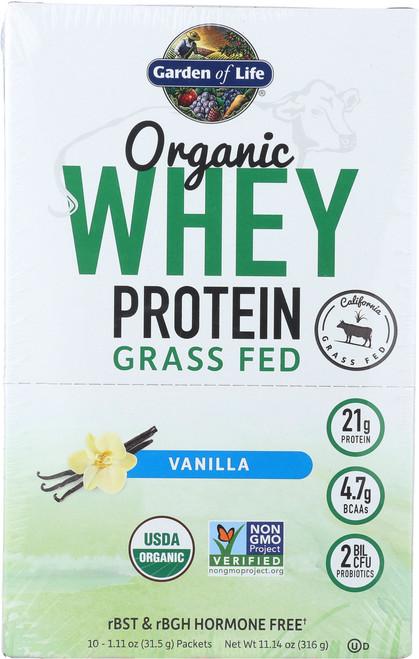Organic Grass Fed Whey Vanilla Tray 10 Pkt Tray