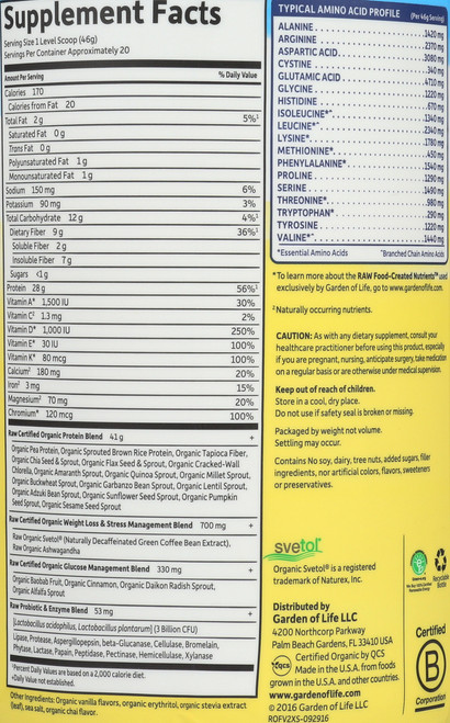 Organic Raw Fit - Vanilla Double Size 913G Powder