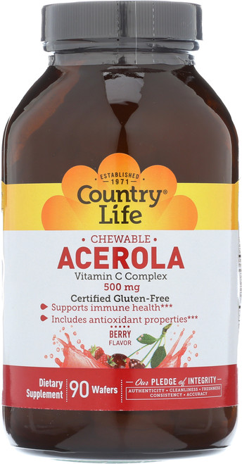 Acerola Chewable Berry Flavor Vitamin C Complex 90 Wafers